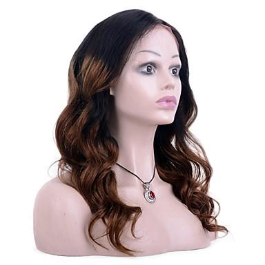 povoljno Perike i ekstenzije-Remy kosa Full Lace Perika stil Brazilska kosa Valovita kosa Ombre Perika 130% Gustoća kose s dječjom kosom Ombre Prirodna linija za kosu Afro-američka perika 100% rađeno rukom Žene Kratko Srednja