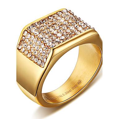 voordelige Herensieraden-Heren Statement Ring Ring Zegelring Kristal Goud Titanium Staal Vierkant Gepersonaliseerde Punk Rock Kerstcadeaus Bruiloft Sieraden