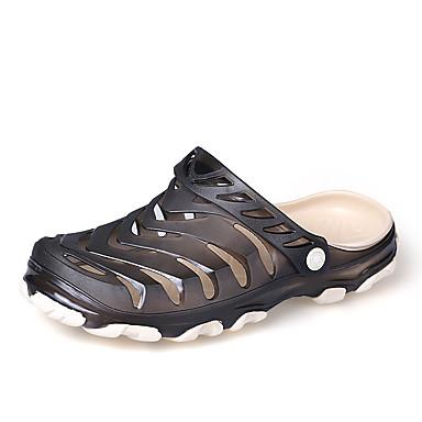 남성 슬리퍼 플립 플롭 워터 슈즈 조명 신발 구멍 신발 PVC 여름 캐쥬얼 플랫 블랙 블루 카키 플랫