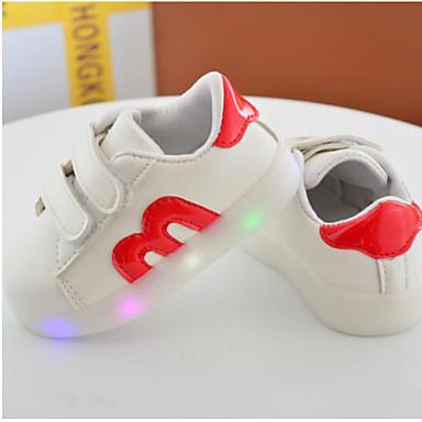 Para Meninas Sapatos Couro Ecológico Primavera / Outono Conforto Rasos para Preto / Vermelho