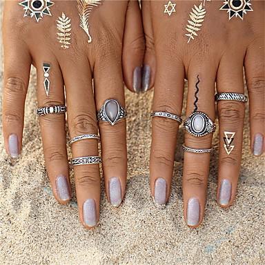 voordelige Herensieraden-Dames Ring Ringen Set Opaal Turkoois 8 stuks Zilver sinkkiseos Opaal Turkoois Rond Cirkelvorm Geometrische vorm Dames Ongewoon Uniek ontwerp Kerstcadeaus Bruiloft Sieraden Drop Oneindigheid