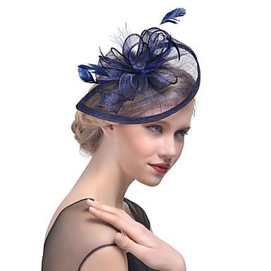 billige Hodeplagg til fest-Tyll / Fjær Kentucky Derby Hat / fascinators / Hodeplagg med Blomster 1pc Bryllup / Spesiell Leilighet Hodeplagg