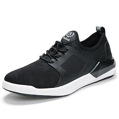 Homens sapatos Couro Ecológico Primavera Outono botas de desleixo Conforto Tênis Caminhada Cadarço para Casual Preto Cinzento