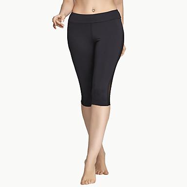 Mulheres Com Transparência Calça 3/4 de Corrida Esportes Sólido, Retalhos, Moderno Calças Ioga, Exercício e Atividade Física, Corrida