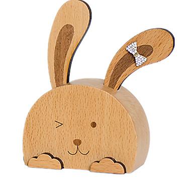 Caixa de música Madeira Rabbit Presente Unisexo Dom