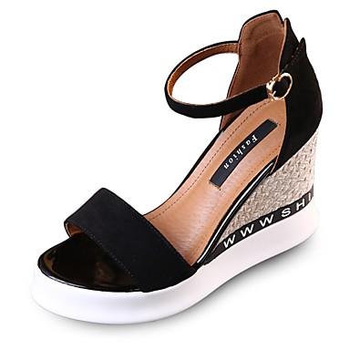 Damen Sandalen Club-Schuhe Sommer Wildleder Normal Kleid Keilabsatz Schwarz Gelb 7,5 - 9,5 cm