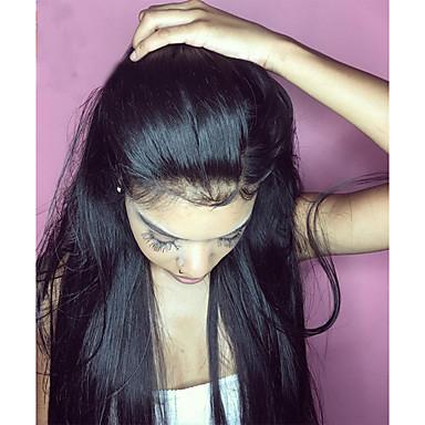 Cabelo Humano Frente de Malha Peruca Cabelo Brasileiro Liso 360 Frontal 180% Densidade 100% Feita a Mão Peruca Afro Americanas Riscas