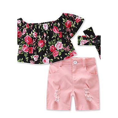 فتيات مجموعة ملابس ورد لون الصلبة قطن صيف كم قصير زهري فستان وردي بلاشيهغ
