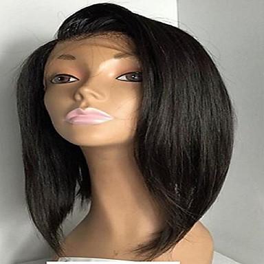 인모 전면 레이스 가발 직진 130 % 밀도 100% 핸드 타이드 흑인 가발 자연 헤어 라인 짧음 보통 긴 여성용 인모 레이스 가발