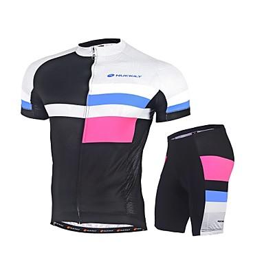 Nuckily Herrn Fahrradtriktot mit Fahrradhosen - Schwarz Fahhrad Kleidungs-Sets, Rasche Trocknung, UV-resistant, Reflexstreiffen Polyester