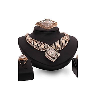Mulheres Gema Strass Chapeado Dourado Conjunto de jóias Anéis 1 Colar 1 Par de Brincos Bracelete - Personalizada Luxo Vintage Importante