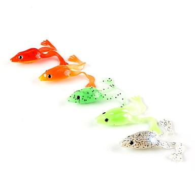 5 Stück Weiche Fischköder / Gummifische Angelköder Frosch Weicher Kunststoff Seefischerei Spinn Spring Fischen Fischen im Süßwasser