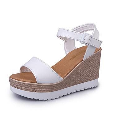 Damen Sandalen Komfort PU Sommer Outddor Walking Schnalle Keilabsatz Weiß Schwarz Unter 2,5 cm