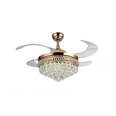 QINGMING® Ventilador de teto Luz Ambiente Galvanizar Metal Cristal, Designers 220-240V Amarelo / Branco Fonte de luz LED incluída / Led Integrado