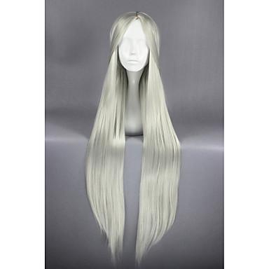 Perucas sintéticas Liso Densidade Sem Touca Mulheres Branco Peruca de carnaval Peruca de Halloween Peruca para Cosplay Longo Cabelo