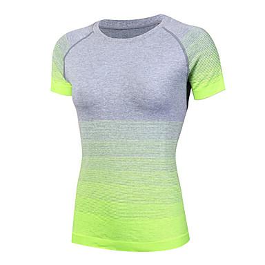 Verde Barco Gradiente Cuello Running De Camiseta Mujer Azul Fucsia Moda Deportes Y7Zq5nw