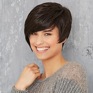 Perucas de cabelo capless do cabelo humano Cabelo Humano Liso Com Franjas Parte lateral Curto Fabrico à Máquina Peruca Mulheres / Reto