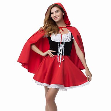 Déguisement Halloween Femme Conte de Fée Le petit Chaperon rouge Robes Costume de Cosplay Manteau Noël Halloween Carnaval Rouge Costumes Carnaval