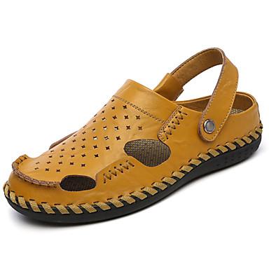 Homens Pele Verão Conforto Sandálias Caminhada Amarelo / Azul Marinho / Khaki