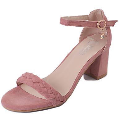 여성 샌들 컴포트 여름 PU 청키 굽 블랙 핑크 7.5cm- 9.5cm