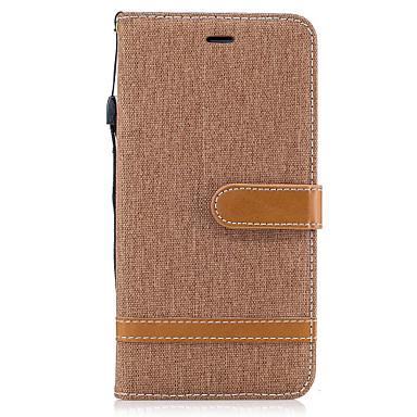 Capinha Para Apple iPhone X iPhone 8 Porta-Cartão Carteira Com Suporte Flip Capa Proteção Completa Côr Sólida Rígida Têxtil para iPhone X