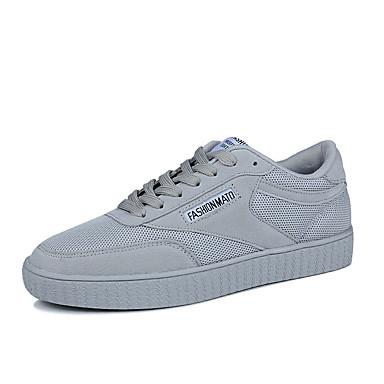 Homens sapatos Couro Ecológico Tule Primavera Verão botas de desleixo Conforto Tênis Caminhada Cadarço para Casual Preto Cinzento