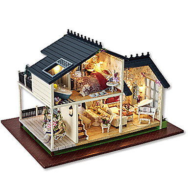 بيت اللعبة مجموعات البناء اصنع بنفسك بيت خشبي قطع صبيان فتيات ألعاب هدية