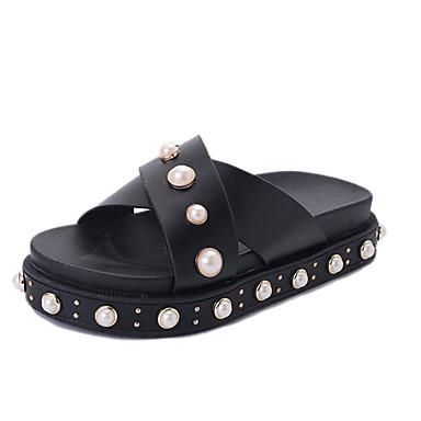 Mulheres Sapatos Couro Ecológico Primavera Verão Creepers Sandálias Sem Salto Dedo Aberto Pedrarias para Casual Social Branco Preto