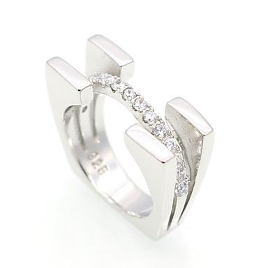 Χαμηλού Κόστους Μοδάτο Δαχτυλίδι-Ανδρικά Γυναικεία Cubic Zirconia Band Ring Ασήμι Στερλίνας Cubic Zirconia Εξατομικευόμενο Πολυτέλεια Geometric Βίντατζ Διπλή στρώση Μοντέρνα Μοδάτο Δαχτυλίδι Κοσμήματα Ασημί Για