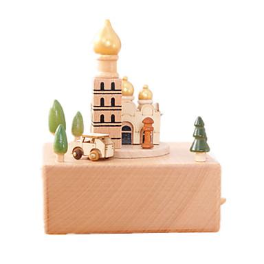Caixa de música Madeira Quadrada Rotativo O Castelo no Céu Presente Unisexo Dom