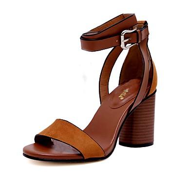 Mulheres Sapatos Couro Primavera Verão Chanel Sandálias Salto Robusto Peep Toe Presilha para Casamento Festas & Noite Preto Marron