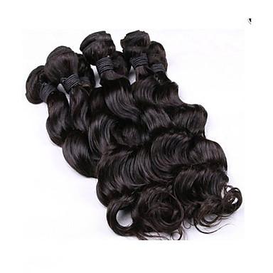 Cabelo Malaio Ondulação Larga Tramas de cabelo humano Cabelo Humano Ondulado Mulheres Diário