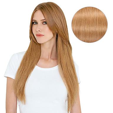 Klipp På Hairextensions med menneskehår Rett Hairextensions med menneskehår Ekte hår Dame - Jordebær Blond