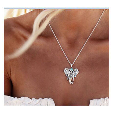 billige Mote Halskjede-Dame Anheng Halskjede Elefant Dyr Personalisert Vintage Mote Euro-Amerikansk Legering Sølv Halskjeder Smykker Til Daglig Avslappet