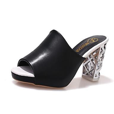 Dámské Sandály Pohodlné PU Léto Outdoor Chůze Kačenka Bílá Černá Méně než 2.5 cm