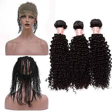 Cabelo Peruviano Kinky Curly / Weave Curly Cabelo Virgem Um Pacote de Solução Tramas de cabelo humano Extensões de cabelo humano