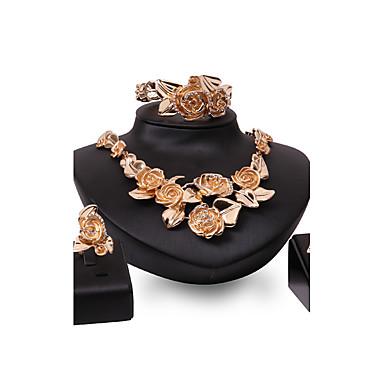 Mulheres Gema Strass Chapeado Dourado Conjunto de jóias Anéis 1 Colar 1 Par de Brincos Bracelete - Personalizada Luxo Euramerican Fashion