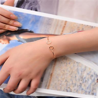 abordables Bracelet-Manchettes Bracelets Femme Mode Bracelet Bijoux Dorée Noir Argent Forme de Cercle pour Soirée Occasion spéciale Cadeau