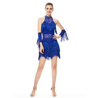 Latein-Tanz Kleider Damen Leistung Elasthan Quaste / Kristalle / Strass Ärmellos Hoch Kleid / Handschuhe / Latintanz