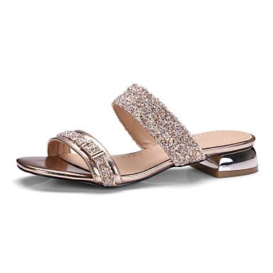 Mulheres Sapatos Courino Primavera Verão Conforto Sandálias Caminhada Salto Robusto Dedo Aberto Presilha para Social Dourado Preto Verde