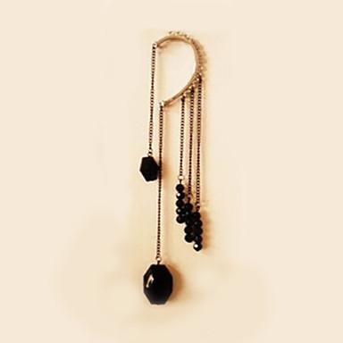 Kadın's Kulak Manşetleri Sentetik safir Değerli Taş Doğal Siyah Boncuklu Sentetik Taşlar Reçine alaşım Mücevher Düğün Parti Günlük