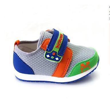 여아 어린이 플랫 첫 신발 튤 패브릭 봄 가을 캐쥬얼 워킹화 첫 신발 매직 테이프 낮은 굽 그레이 핑크 네이비 블루 플랫