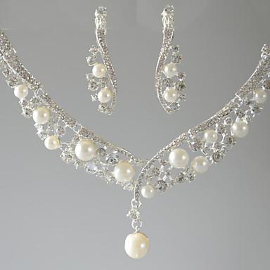 نسائي قلائد الحلي / قلادة Y - لؤلؤ تقليدي قطرة, وردة أساسي فضي قلادة مجوهرات من أجل زفاف, مناسب للحفلات, مناسبة خاصة / عيد ميلاد / خطوبة