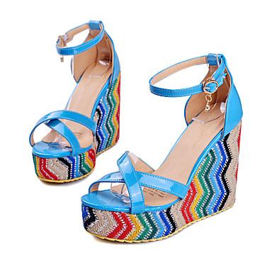 Mulheres Sapatos Couro Ecológico Verão Conforto / Tira no Tornozelo Sandálias Caminhada Salto Plataforma Dedo Aberto Presilha Preto /