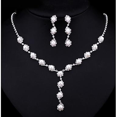 Mulheres Zircônia cúbica Conjunto de jóias - Fashion Incluir Colar com Pérolas Branco Para Casamento Festa Noivado
