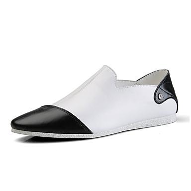 Homens Couro Ecológico Primavera / Outono Conforto / botas de desleixo Mocassins e Slip-Ons Caminhada Branco / Preto / Combinação