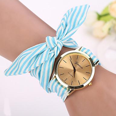 Geneva Kadın's Quartz Bilek Saati / Bilezik Saat Kumaş Bant İhtişam / Çiçek / Vintage / Moda Siyah / Beyaz