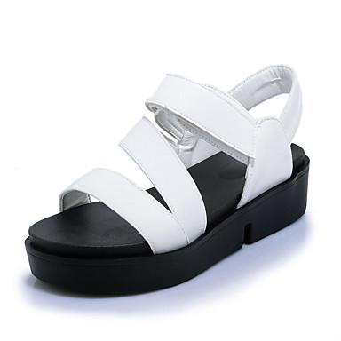 Mulheres Sapatos Courino Primavera Verão Conforto Sandálias Creepers Dedo Aberto Colchete para Casual Escritório e Carreira Social Branco
