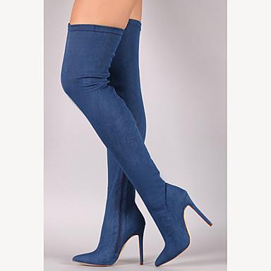 povoljno Ženske čizme-Žene Čizme Stiletto potpetica Krakova Toe Patent-zatvarač Traper Čizme preko koljena Kaubojke / Modne čizme / spušten čizme Proljeće / Jesen Crn / Tamno plava / Svjetloplav / Klub obuća / EU40