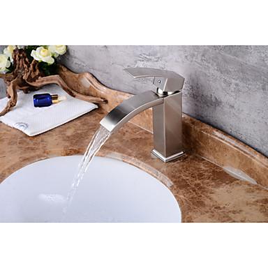 콘템포라리 주방,욕조수전(Centerset) 워터팔 도자기 발브 싱글 핸들 하나의 구멍 니켈 브러쉬드, 욕실 싱크 수도꼭지